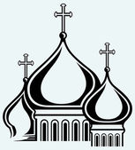 The bulbous domes of orthodox cathedral temple — Stock Vector
