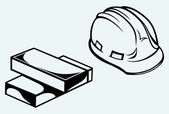 Hard hat and bricks — Stock Vector