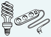 Energy saving light bulb and power surge — Stock Vector