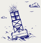 A warning buoy off the coast — Stock Vector