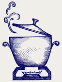Cooking in the metal pan — Stock Vector
