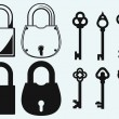 Closed locks security icon. Antique keys collection — Stock Vector