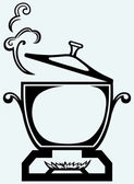 Cooking in the metal pan — Vetorial Stock