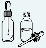 Open medicine bottle with a dropper — Stock Vector