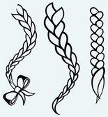 Hair braided — Vector de stock