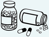 Pill bottle. Spilling pills on to surface — 图库矢量图片
