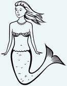 Kıvırcık saçlı sevimli denizkızı — Stok Vektör