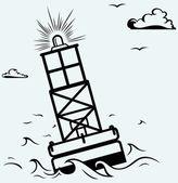 Warning buoy off the coast — Stock Vector
