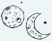 Ay ve ay kraterler — Stok Vektör