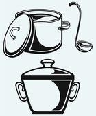 Cookware. Hot soup in a saucepan — Stock Vector