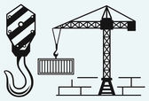 Crane working and hook of a crane — Stockvector