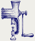 The old manual meat grinder — Stock Vector