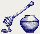 Wooden honey dipper and honey pot — Stock Vector