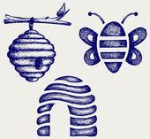 Miel de abejas y colmena — Vector de stock