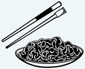 Noodle with chopsticks — Stock Vector