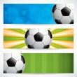 Soccer ball banners — Stock Vector