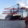 Hamburg harbour with container ship — Stock Photo