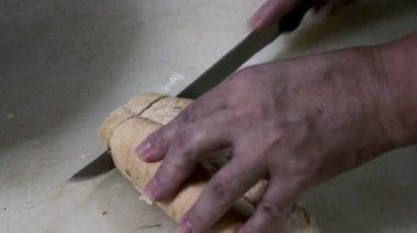 Pan de corte — Vídeo de Stock
