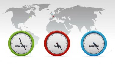 Ticking New York, Paris, London Time zones clocks.