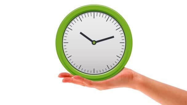 Hand holding fast turning clock — Vídeo de stock