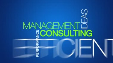 Animated Management Consulting word cloud text animation