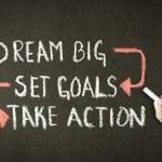 Dream Big, Set Goals, Take Action chalk drawing — Stock Photo