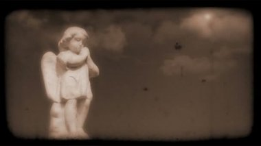 Vintage Film of Angel with Clouds moving in the background — Stock Video
