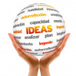 Holding an Ideas Sphere (In Spanish) — Stock Photo