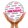 Stock Photo: Obesty Word Sphere (In Spanish)