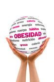 Obesty Word Sphere (In Spanish) — Stock Photo