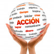 Stock Photo: 3d Action Word Sphere (In Spanish)