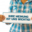 Foto Stock: Your opinion matters (In german)