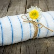 Towel With a Flower — Stock Photo