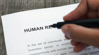 Circling Human Resources with a red marker — Stock Video
