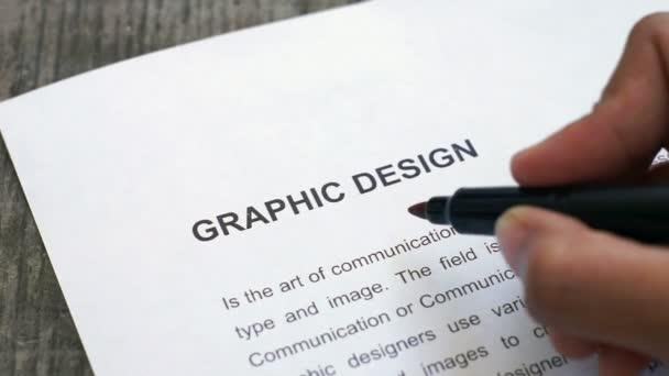 Diseño gráfico circunda con un marcador rojo — Vídeo de stock