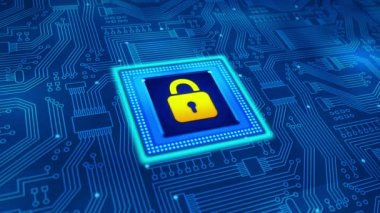 Security Concept Microprocessor with padlock — Stock Video