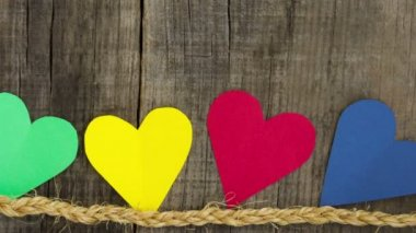 Colorful paper hearts — Stock Video