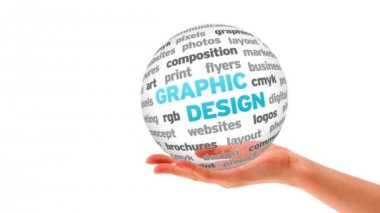 Graphic Design word sphere — Video Stock