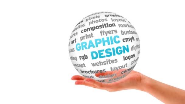 Sphère du mot design graphique — Vidéo