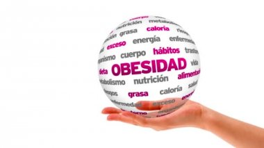 Obesity word sphere (In Spanish) — Stock Video