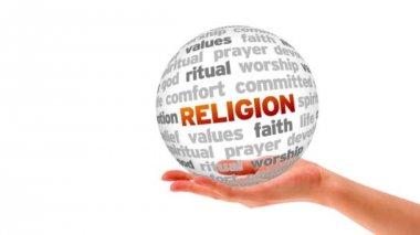 Esfera de palavra religião — Vídeo stock