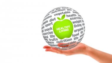 Healthy Living Word Sphere — Stock Video