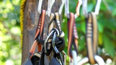 Mountain Climbing Carabiner — Stock Video