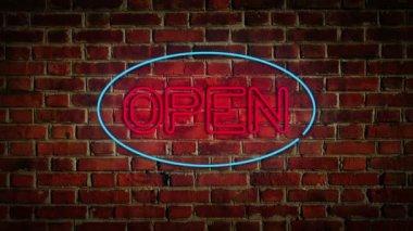 Flickering Open Sign — Stock Video