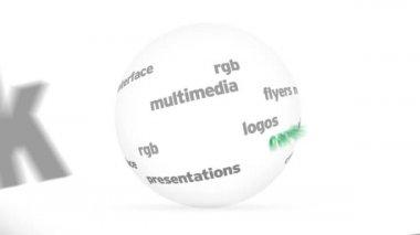 3 d デザインの単語の球 — ストックビデオ