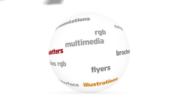 Diseño esfera de palabradesign Wort Sphäre — Vídeo de stock