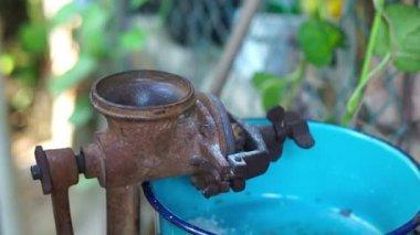 Old, antique corn grinder — Stock Video