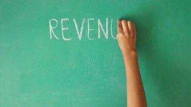 Net Profit chalk written on blackboard — Stock Video