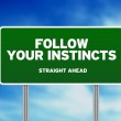 Green Road Sign - Follow Your Instincts — Stock Photo #6326280
