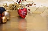 Christmas heart background — Stock Photo